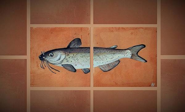 Fish On Hand Made Terracotta Tiles Poster featuring the painting Catfish by Andrew Drozdowicz