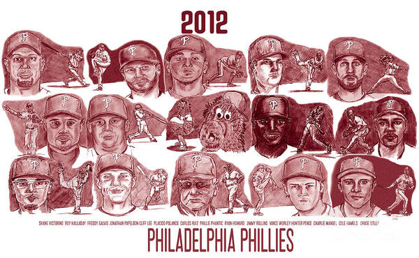 Shane Victorino Poster featuring the drawing 2012 Philadelphia Phillies by Chris DelVecchio