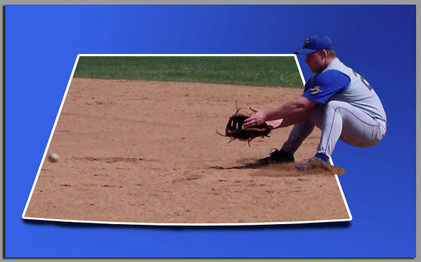 Out Of Bounds Poster featuring the photograph Baseball Hot Grounder by Thomas Woolworth