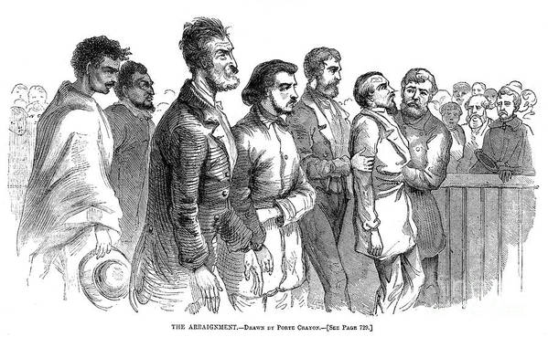 1859 Poster featuring the photograph John Brown Trial, 1859 by Granger