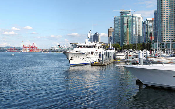 Vacations Poster featuring the photograph Vancouver Bc Downtown Skyline Panorama Marina Canada. by Gino Rigucci