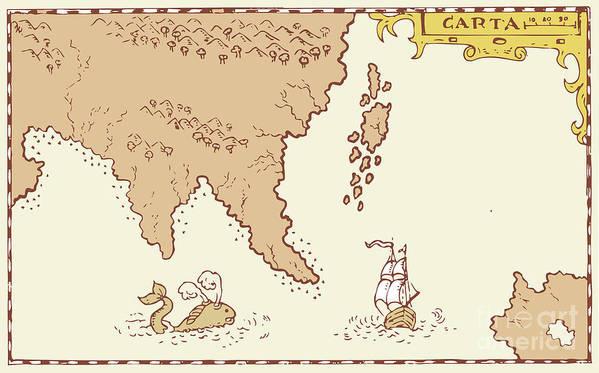 Illustration Poster featuring the digital art Vintage Map Treasure Island Tall Ship Whale by Aloysius Patrimonio