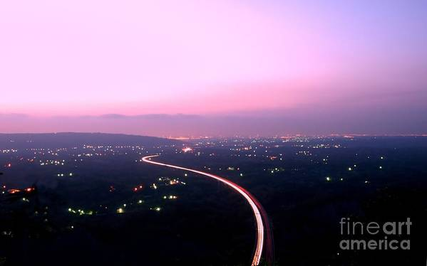 Dusk Poster featuring the photograph Aerial View Of Highway At Dusk by Yali Shi