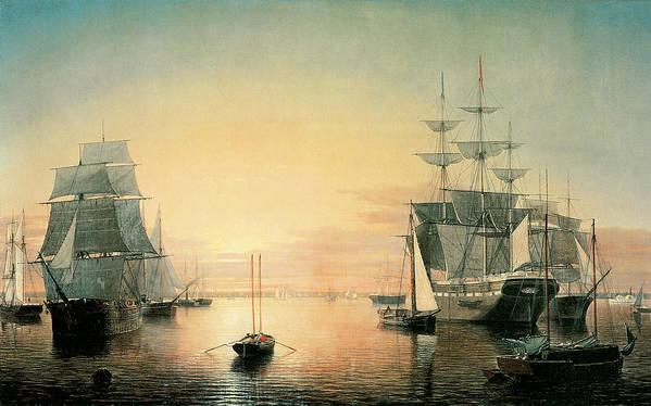 Fitz Hugh Lane Poster featuring the painting Boston Harbor by Fitz Hugh Lane