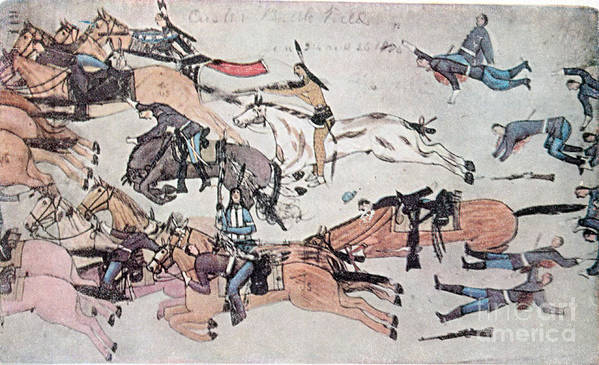 History Poster featuring the photograph Crazy Horse At The Battle Of The Little by Photo Researchers