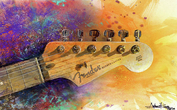 Fender Stratocaster Poster featuring the painting Fender Head by Andrew King