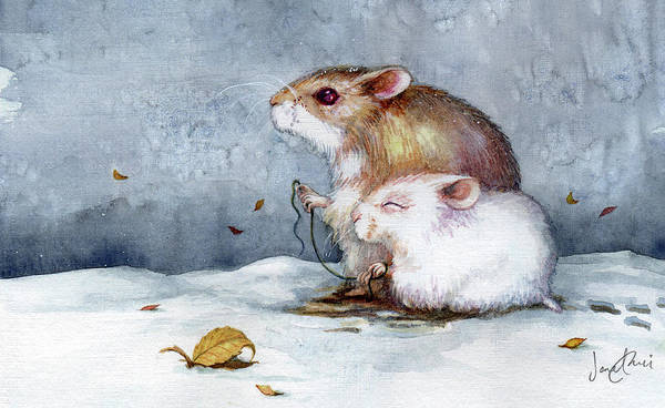 Hamster Poster featuring the painting First Snow by Janet Chui