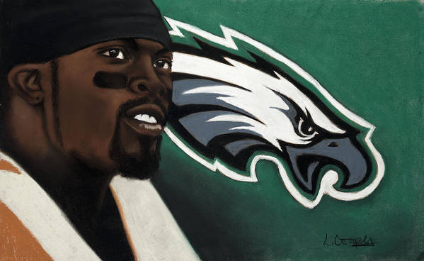L Cooper Poster featuring the pastel Michael Vick by L Cooper