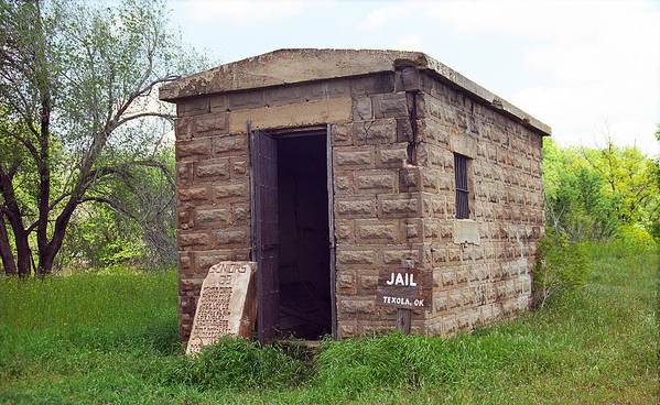 66 Poster featuring the photograph Route 66 - Texola Jail by Frank Romeo