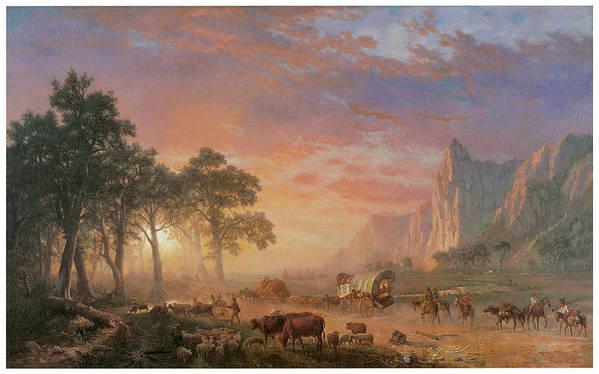 Albert Bierstadt Poster featuring the painting The Oregon Trail by Albert Bierstadt