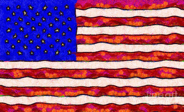 Usa Poster featuring the photograph Van Gogh.s Starry American Flag by Wingsdomain Art and Photography