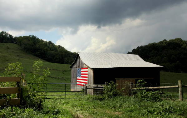 Patriotic Barns Poster featuring the photograph Barn In The Usa by Karen Wiles