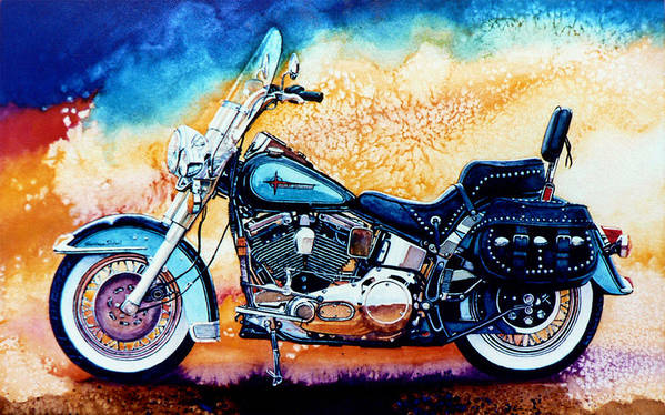 Harley Davidson Art Print Poster featuring the painting Harley Hog I by Hanne Lore Koehler
