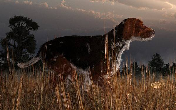 Dog Poster featuring the digital art Old Hunting Dog by Daniel Eskridge