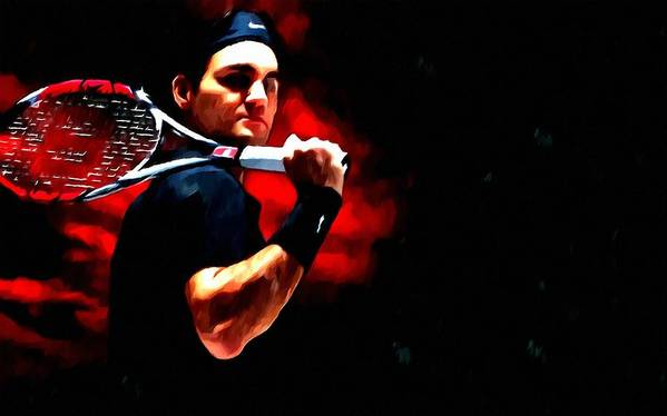 Roger Federer Tennis Poster featuring the painting Roger Federer Tennis by Lanjee Chee