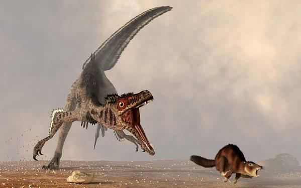 Velociraptors Poster featuring the digital art Velociraptor Chasing Small Mammal by Daniel Eskridge
