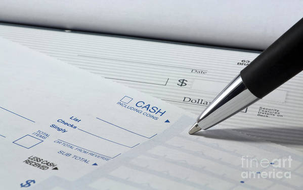 Account Poster featuring the photograph Filling Out Deposit Slip by Blink Images