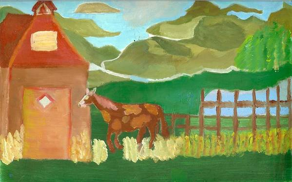 Red School House Poster featuring the painting Paint Pony At Red Schoolhouse by Shannon SmithCumiford