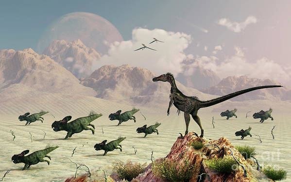 Outdoors Poster featuring the digital art Protoceratops Stampede In Fear by Mark Stevenson