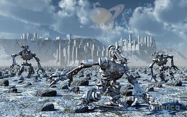 Digitally Generated Image Poster featuring the digital art Robots Gathering Rich Mineral Deposits by Mark Stevenson