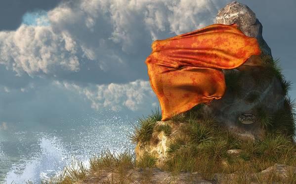 Beach Poster featuring the digital art Sea Breeze Butterfly by Daniel Eskridge