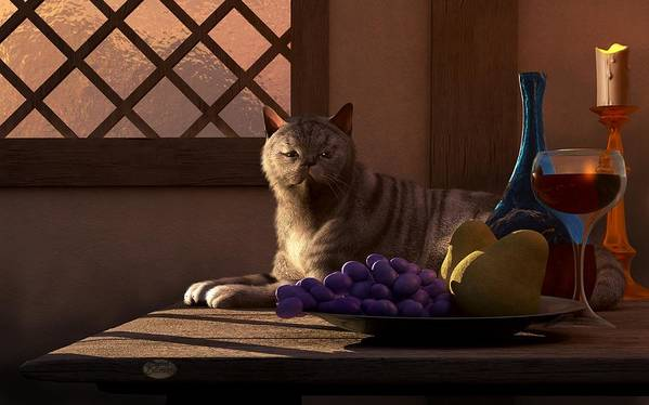 Cat Poster featuring the digital art Still Life With Wine Fruit And Cat by Daniel Eskridge