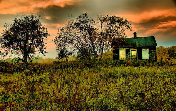 Old House Poster featuring the photograph Sunrise On The Prairie by Matthew Winn
