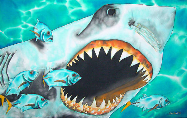 Shark Painting Poster featuring the painting White by Daniel Jean-Baptiste
