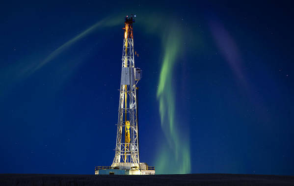 Platform Poster featuring the photograph Drilling Rig Saskatchewan by Mark Duffy