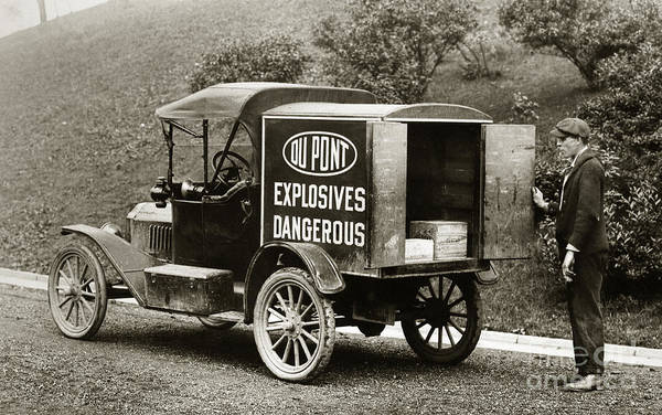 Du Pont Poster featuring the photograph Du Pont Co. Explosives Truck Pennsylvania Coal Fields 1916 by Arthur Miller