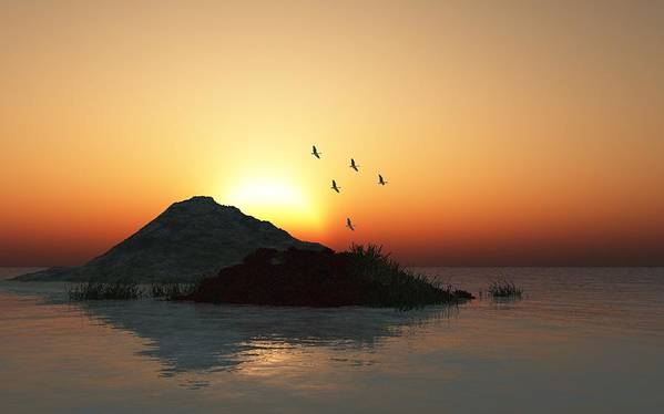 Digital Painting Poster featuring the digital art Geese And Sunset by David Lane