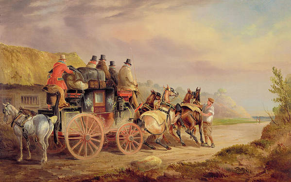 Mail Poster featuring the painting Mail Coaches On The Road - The 'quicksilver' by Charles Cooper Henderson