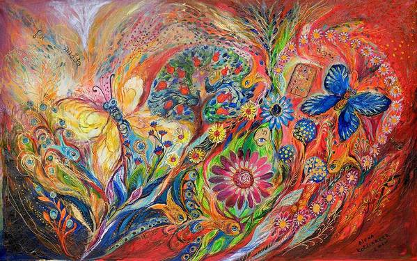 Original Poster featuring the painting The Flowers And Trees by Elena Kotliarker