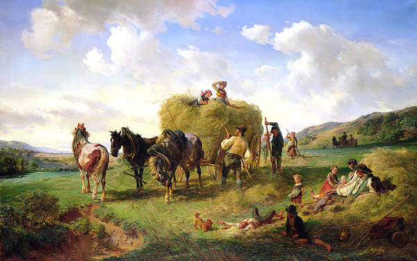 The Poster featuring the painting The Hay Harvest by Hermann Kauffmann