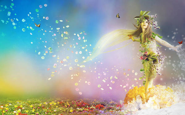 Leaves Poster featuring the digital art They Call Me Spring by Mary Hood