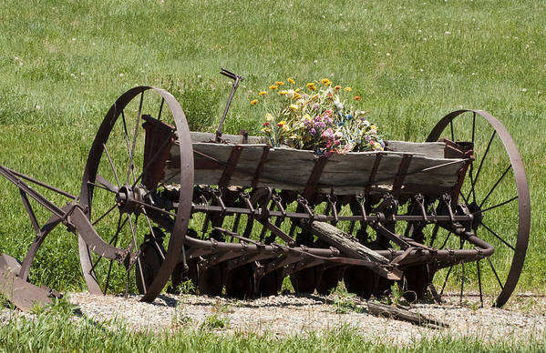 Old Farm Equipment Poster featuring the photograph Antique Horse Drawn Seeder by Daniel Hebard