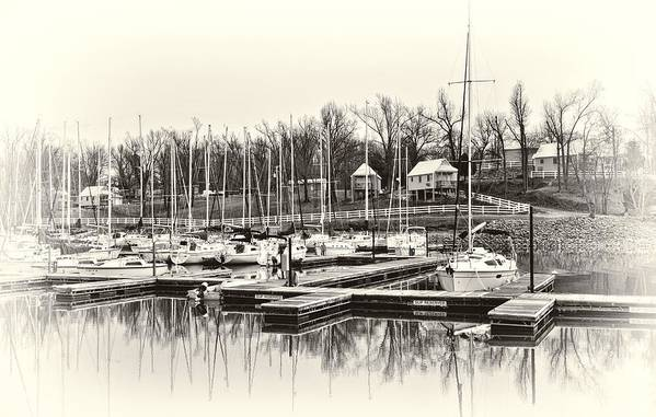 Boat Poster featuring the photograph Boats And Cottages In B/w by Greg Jackson
