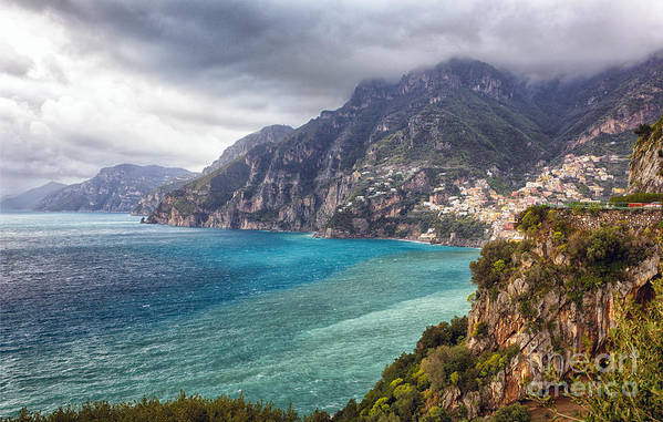 Positano Poster featuring the photograph Cliffs Of Amalfi Coastline by George Oze