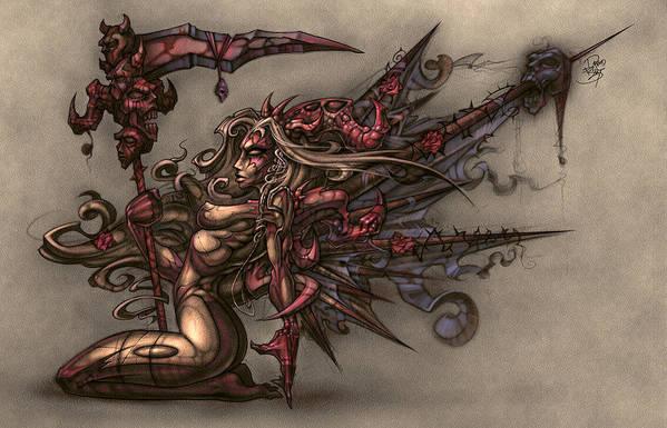 Fantasy Poster featuring the digital art Death's Angel by David Bollt