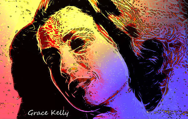 Shinning Through Love Loves Grace Kelly Pop Art Modern Painting Famous Actress Face Princess Queen Monaco Star Beauty Portrait Digital Art Gracia Poster featuring the digital art Grace by Steve K