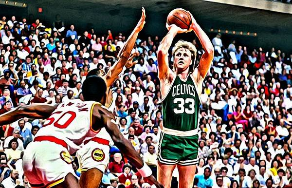 Larry Poster featuring the painting Larry Bird by Florian Rodarte