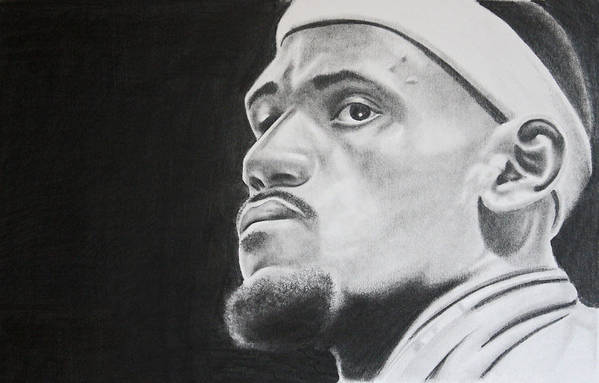 King James Poster featuring the drawing Lebron by Don Medina