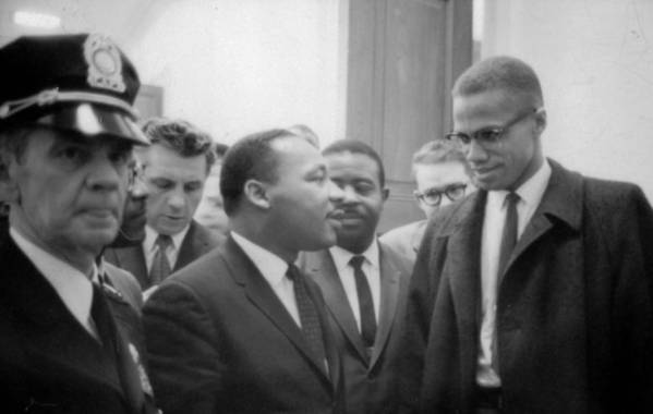 Martin; Luther; King; Jnr; 1929-1968; Malcolm; Malcolm; Little; 1925-1965; Waiting; Press; Conference; 26; March; 1964; Photographer; Marion; Trikoskor; America; Usa; Politics; Racial; Equality; Racism; Segregation; Integration; Twentieth Century; 20th Century Poster featuring the photograph Martin Luther King Jnr 1929-1968 And Malcolm X Malcolm Little - 1925-1965 by Marion S Trikoskor