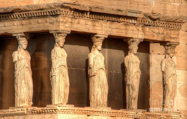Greece Poster featuring the photograph The Acropolis Caryatids by Deborah Smolinske