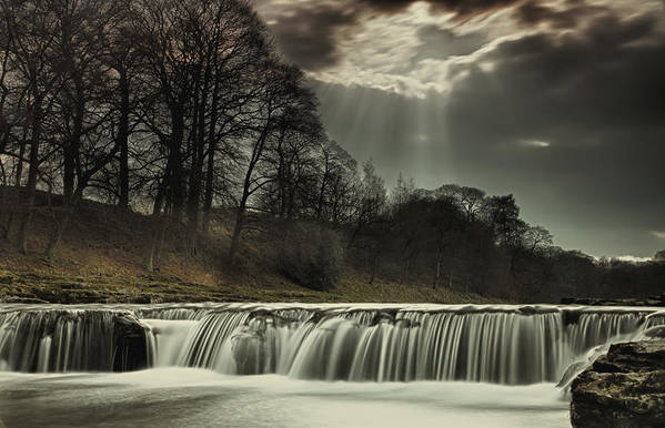 Water Poster featuring the photograph Aysgarth Falls Yorkshire England by John Short