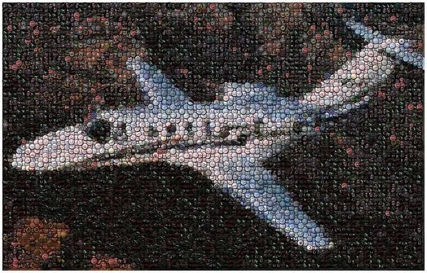 Bottle Cap. Bottle Caps Poster featuring the mixed media Bottle Cap Cessna Citation Mosaic by Paul Van Scott