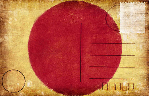 Address Poster featuring the photograph Japan Flag Postcard by Setsiri Silapasuwanchai