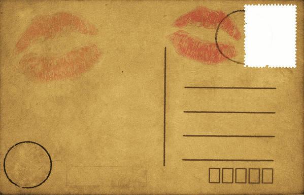 Address Poster featuring the photograph Kiss Lips On Postcard by Setsiri Silapasuwanchai