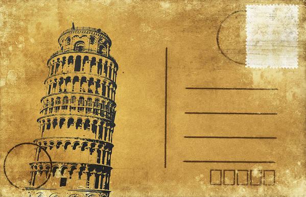 Address Poster featuring the photograph Leaning Tower Of Pisa Postcard by Setsiri Silapasuwanchai