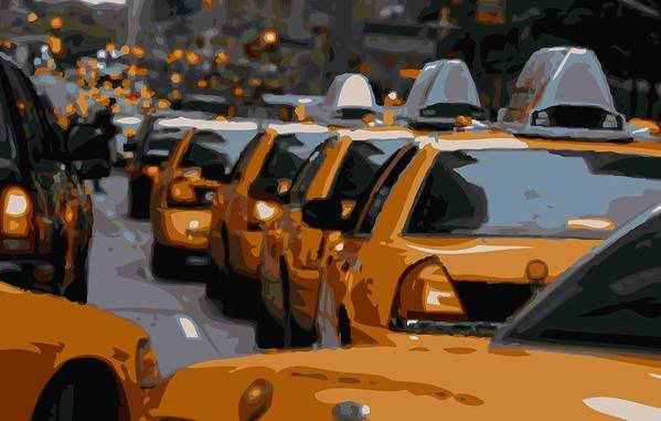 Taxi Poster featuring the photograph Nyc Traffic Color 16 by Scott Kelley